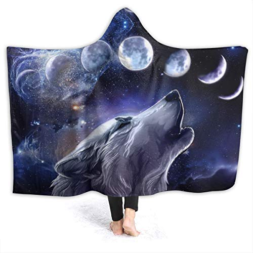 321DESIGN Wolf Space Moon Wolves in Starry Night Sky Flannel Wearable Blanket Robe Wrap Ultra Soft Throw Indoors or Outdoors Hooded Blanket