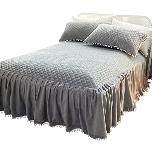 LIFEREVO Luxury Velvet Diamond Quilted Fitted Bed Sheet 3 Side Coverage 18 inch Drop Dust Ruffle Bed Skirt with Pompoms Fringe (King Gray)