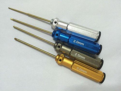 4 stks/set Kleur Titanium Legering Staal Allen Driver 1.5 2.0 2.5 3.0 Zeshoekige Schroevendraaier Voor Speelgoed Helikopter Luchtvaartuig Reparatie Tool