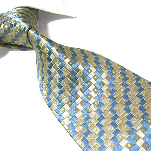Towergem Extra Lungo Cravatta Microfibre Scozzese Uomo Tessuto Jacquard XL Cravatta 63