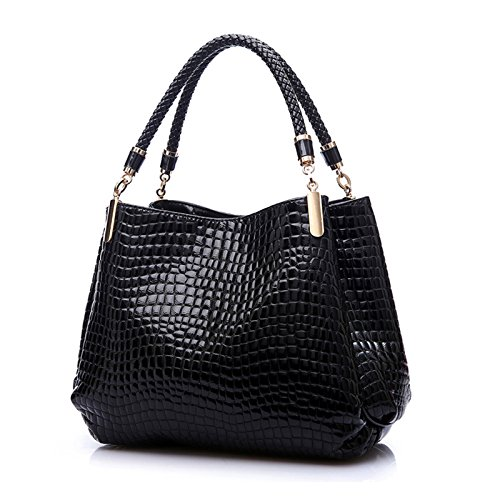 Women,s Hot Sales PU Alligator Lederen Tote Handtas Schoudertas (zwart)