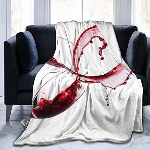 Manta personalizada, diseño de corazón de vino tinto sobre fondo blanco, suave y cómoda manta de felpa para sofá, dormitorio, viaje, manta mullida de 101 x 122 cm