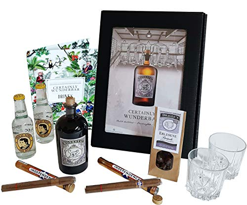 Monkey 47 Schwarzwald Dry Gin Geschenk Set | Männer Set mit Gin, Tonic Water, Gläser, Zigarren und Dragee´s | Geschenkkorb 9-teilig | Geschenk für Männer | Geschenkideen mit Alkohol | Präsentkorb
