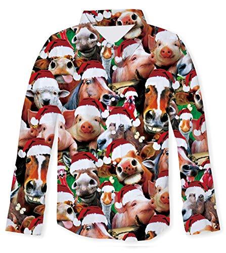NEWISTAR Camisa de Manga Larga para niños con Estampado 3D y Botones para niños y Adolescentes Marrón Pigs S...