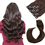 Clip in Hair Extensions Dark Brown Human Hair Remy Extensions Clip ons 7 Pieces 70g Silky Straight Double Weft Clip in Remy Real Hair Extensions 15 Inch for Women