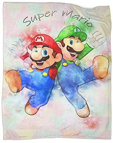 Super Mario Bros Super Mario Bros Manta de forro polar tamaño manta de microfibra fácil cuidado manta manta para camas cubierta 127 x 101 cm