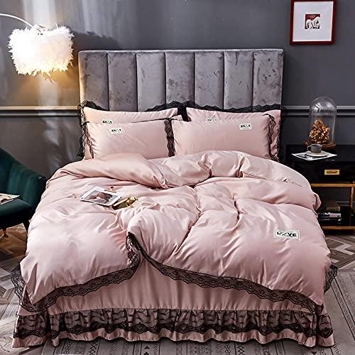 Funda De EdredóN Juego MáQuina,Ropa de cama de piel de seda, Seda de hielo Falda de camas frías Down Set de edredón Conjunto de una sola cama doble de una sola funda de almohada, usando un hotel fami