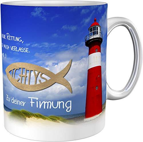 metALUm Kaffeetasse Leuchtturm zur Firmung mit Spruch # 3300100170