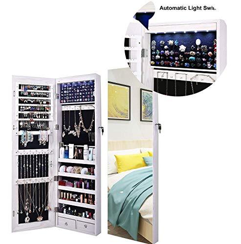 Schmuckschrank, Mit 6 LED,Svolle LäNge Spiegel,AbschließBare WandtüR Montiert, Durchgehender Spiegel,GroßRaum-Ankleidespiegel (White)