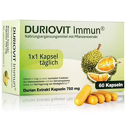 DURIOVIT Immun® - Nahrungsergänzungsmittel mit Extrakt aus der Durian-Frucht (750 mg) - 60 vegane Kapseln voller natürlichem Vitamin C