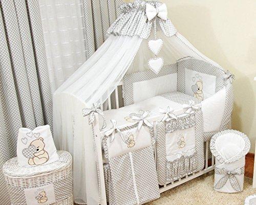 10 Tlg. Bettwäsche Nestchen Babybettwäsche Bettset Bärchen mit Herz Bello