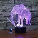 3D Eléphant Lampe Art Déco Lampe LED 3D Lampe Contrôle à distance 7/16 Couleurs Change Veilleuse USB Powered Enfants Cadeau Anniversaire Noël Cadeau