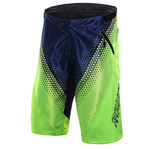 emansmoer Homme Loose Fit Outdoor Casual Cycling Biking Quick Dry Shorts Sports Basketball Jogging Travel Short Pants(XXL,Green-Blue)