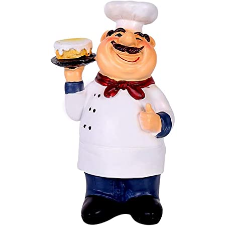 Amazon Com Holding Cake Resin Figurines Decorative American Chef Statue For Counter Restaurant Cafe Country Cottage Tabletop Kitchen Decorations Dining