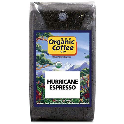 Organic Coffee Co. Hurricane Espresso Whole Bean Coffee 2LB (32 Ounce) Medium Dark Roast Natural Water Processed USDA Organic