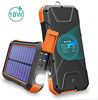 BLAVOR Solar Charger Power Bank 18W, QC 3.0 Portable Wireless Charger 10W/7.5W/5W with 4 Outputs & Dual Inputs, 20000mAh E...