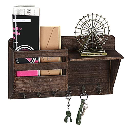 Wall Mount Mail Organizer, Mail Sorter,Wooden Rustic Wall Mail Holder with 6 Key Hook Rack,Letter,Magazine,Organizer,Leash Hanging,Coat Rack,Newspaper Storage,Wall Décor for Entryway,Home,Office