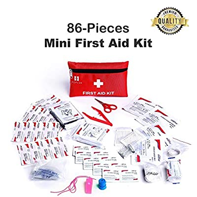 Defler Small First aid kit, 86pcs Mini First Aid Kits for Emergency and Survival Situations Includes Emergency Golden Foil Blanket, CPR Face Mask,Scissors Perfect for Travel,Home,Office, Camping,Car by Firstar Healthcare