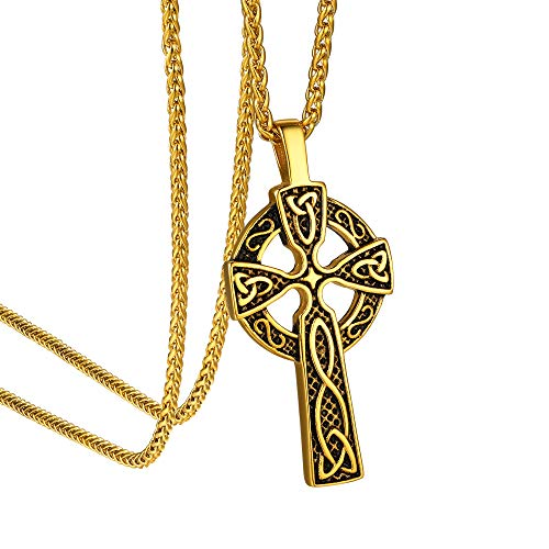 """GoldChic Jewelry Irish Celtic Cross Necklace for Men Good Luck Celtic Knot Cross Vintage Pendant Necklace Women - 18K Gold Plated -22'+2"""" Wheat Chain"""