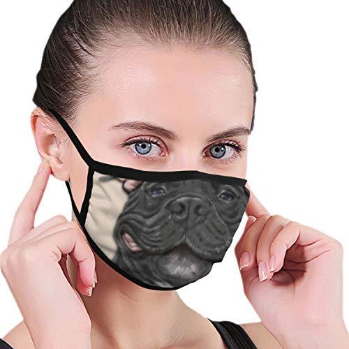 fgjfdjj Lächelnder schwarzer Pitbull-Hund Lustige Gesichts-Mund-Masken, waschbare und wiederverwendbare Gesichtsschutz-Mundschutz-Sturmhaube für Männer/Frauen/Teenager/Jugendliche