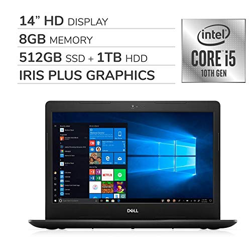 "Dell Inspiron 2020 Premium 14"" HD Laptop Notebook Computer,4-Core 10th Gen Intel Core i5-1035G4 up to 3.7 GHz,Iris Plus Graphics,8GB RAM, 512GB SSD+1TB HDD,No DVD,Webcam,Bluetooth,Wi-Fi,HDMI,Win 10"
