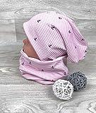 Beanie und Loop Set Anker rosa, Jersey Fleece Gr 40-54 Beanie rosa kindermütze, mützen set Mädchen