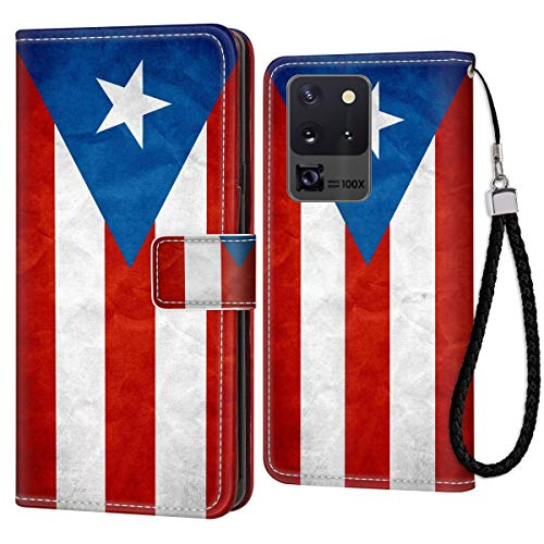Samsung Galaxy S20 Ultra Wallet Case Puerto Rico Flag PU Leather Full Body Phone Case with Card Slot for Samsung Galaxy S20 Ultra for Girl