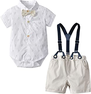 2Piece Infant Outfit Set, Baby Boy Gentleman Bowknot Romper Overall Shorts Pants, Fashion Style onWedding Party