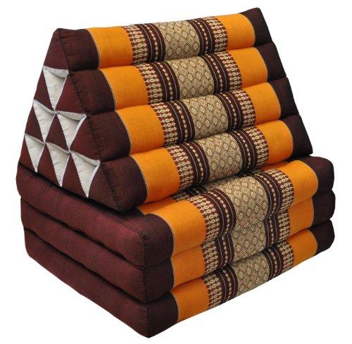 Wifash - Materasso thailandese in 3 parti con cuscino triangolare, in kapok, per il relax in spiaggia, in piscina, prodotto in Thailandia, colore: marrone e arancione (modello 81103)