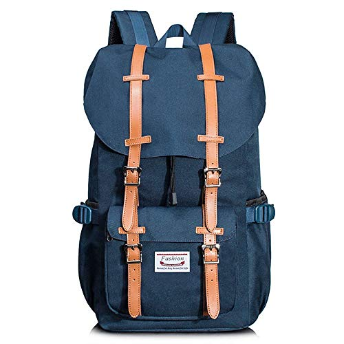 KK Timo Lightweight Polyester Large Capacity Outdoor Backpack Sports Backpack Mountaineering Bag Multi-function Waterproof Wear-resistant Computer Bag Men And Women (Color : Blue)