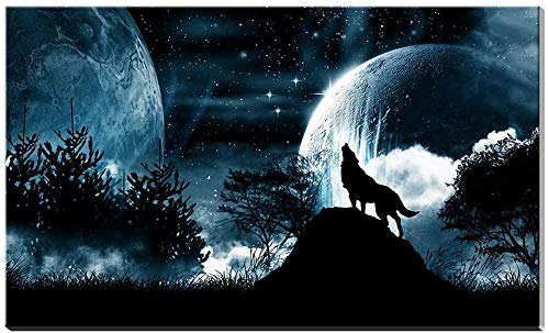 DINGDONG ART Lienzo De Impresión Sin Marco 30x50cm Living Room Modular Pictures HD Printed Full Moon Night Forest Wolf Framed Poster Decor