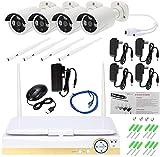 Cámara de vigilancia Cámaras de Seguridad cámara de 10 Pulgadas LCD de 4 Canales CCTV 1080P inalámbrica, Home Kit de Seguridad, detección de Movimiento-6.5 6.5 18.5Cm_1080P + 4Tb_1080P JIAJIAFUDR