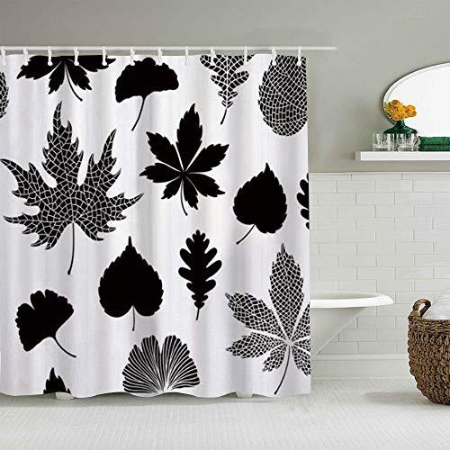 QINCO Duschvorhang,Ginkgo Biloba Ahorn verlässt abstraktes Blatt,personalisierte Deko Badezimmer Vorhang,mit Haken,180 * 180