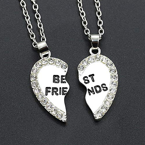 Collar de hombreLove English Colgante Aleación Artículo Moda Cristal De Dos Piezas Best Friends Collar para Mujer Joyería Blanco