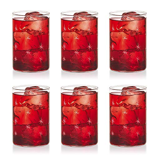Borosil VDMG295 Vision Deco Medium Galaxy Glass [Set of 6] -Clear Lightweight & Durable Drinkware, Odor Resistant, Dishwasher Safe - For Water, Juice, Beer, Wine, and Cocktails |10 Ounce Cups