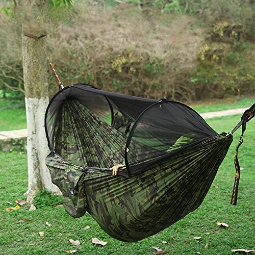 qlly Hängematte mit Moskitonetz Person Camping,Ultraleicht tragbar Winddicht,Anti-Moskito,Schaukel schlafen Hängematte Bett mit Netz und hängen für Outdoor,Wandern,Rucksack,Reise Hängematten