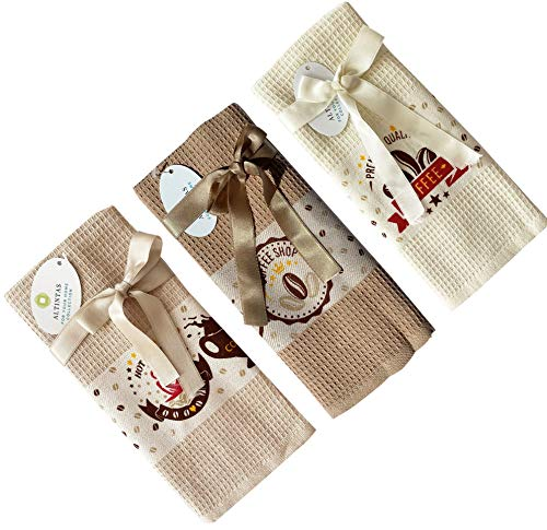 ALTINTAS Kitchen Hand Towels,17 X 26 in - Absorbent Dish Cloths for Kitchen, Drying & Cleaning, Tea & bar Towels, 100% Cotton Waffle Weave,Multi-Purpose & Decorative for Home,Set of 3,Coffee Design