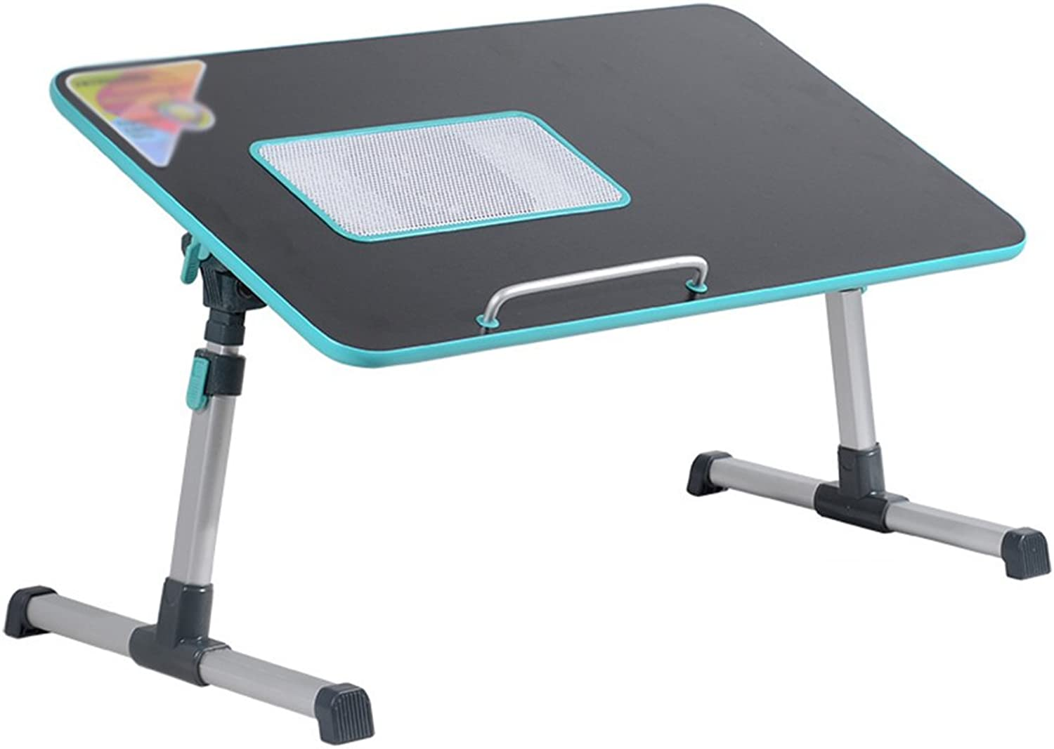 PENGFEI Portable Standing Desk Folding Computer On Bed Small Spaces Multifunction Wood-Based Panel Foldable with Cooling Fan Adjustable Height 2 colors 53x30CM (color   Black with Cooling Fan)