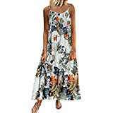 Bohemian Clothing Dress for Women Vintage Plus Size Sleeveless Floral Ruched Midi Dress (XL, Blue)