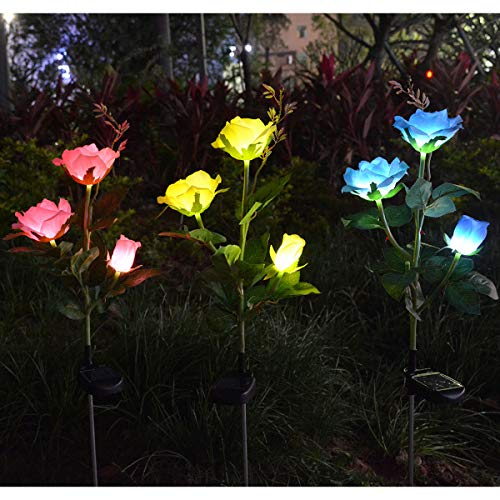 Homeleo 3 Pack Solar Decorative Rose Stake Lights for Porch Outdoor Decor Garden Memorial Cemetery Backyard Flower Bed Decoration Mother's Day Grandma Gifts(Pink,Yellow,Blue)