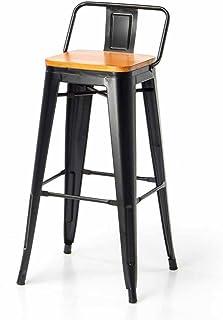 62b9c29dff4c Silla de bar creativa Taburetes De Bar De Metal Cocina Desayuno Comedor  Silla Asiento De Madera