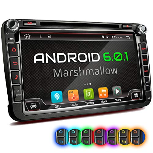 "XOMAX XM-2DA801 Autoradio mit Android 6.0.1 passend für VW SEAT Skoda mit Navigation I DVD CD I Bluetooth I Support: WiFi DAB+ OBD2 I 8\"" / 20 cm Bildschirm I USB bis 2TB I Micro SD bis 256GB"