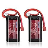 AWANFI 7.4V 2000mAh RC Battery High Capacity Li-ion Battery with Deans Plug for RC Car Off Road Truck RadioMaster TX16S Jumper T16 T12 T8SG Transmitter RC Helicopter Boat(2 Pack)