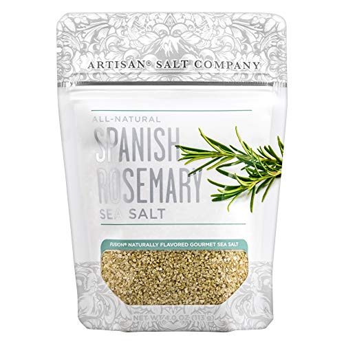 SaltWorks Natural Fusion Spanish Rosemary Flavored Sea Salt, Artisan Zip-Top Pouch, 4 Ounce