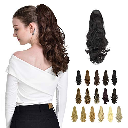 FESHFEN Ponytail Hair Extensions, 19 inch Clip in Ponytail Hairpieces Curly Claw Clip Ponytail Extensions Synthetic Ponytail Clip Long Hair Ponytail Hair Piece for Women