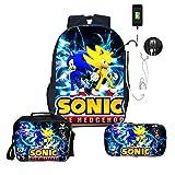 Paquete de comidas Sonic Mochila sónica para niños, niñas, mochilas para niños, regalo sorpresa, mochilas escolares, 3 unids/set, mochila + bolsa de almuerzo + estuche para lápices