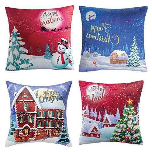 Bedsure Christmas Throw Pillow Cover 18x18 Inch Set of 4, Velvet Xmas Series Cushion Covers (Christmas Eve)