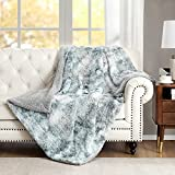 Faux Fur Fuzzy Throw Blanket Soft Warm Cozy Tie-dye Sherpa Throw Blanket Throw Size 50x60 inch Suitable for Fall Winter and Spring (Arctic Blue, 50x60)