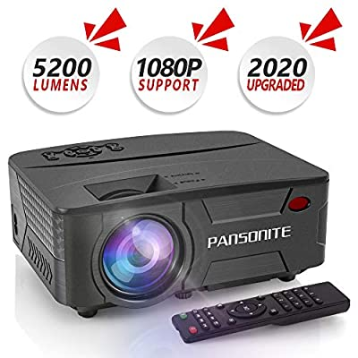 Pansonite Mini Projector 5200 Lux Portable Projector for Outdoor Movies and Home Theater Support 1080P and Max.200'' Display Compatible with TV Stick,PS4,iPhone,Smartphone,HDMI,VGA,AV and USB(Black) by Pansonite