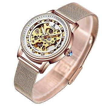 Women s Watch Luxury Mechanical Stainless Steel Skeleton Steampunk Automatic Self Winding Mesh Band Wristwatch